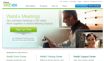 WebEx Login Screen